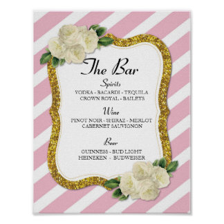 The Bar Event Sign Stripe Pink Wedding Reception Poster