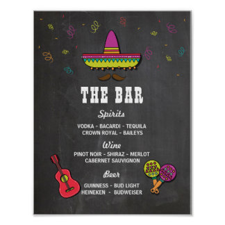 The Bar Fiesta Party Event Sign Wedding Reception Poster