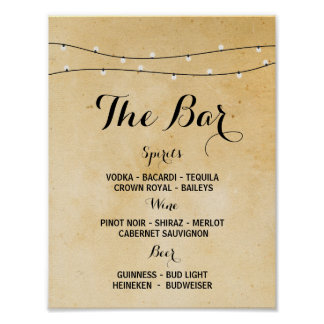 The Bar Rustic Lights Event Sign Wedding Reception Poster