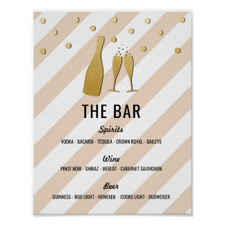 The Bar Stripe Champagne Sign Cream Reception Poster