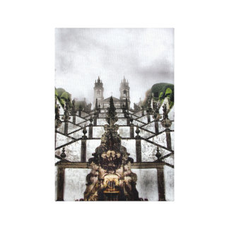 The Baroque staircase of Bom Jesus in Braga Stretched Canvas Print