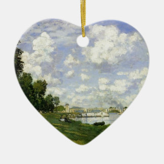 The Basin at Argenteuil - Claude Monet Ceramic Heart Ornament