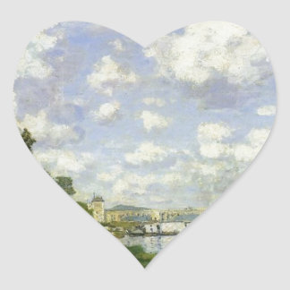 The Basin at Argenteuil - Claude Monet Heart Sticker