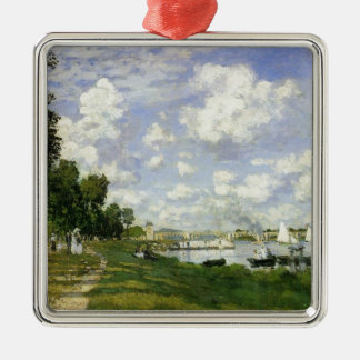 The Basin at Argenteuil - Claude Monet Silver-Colored Square Ornament