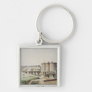 The Bastille in 1420 Silver-Colored Square Keychain