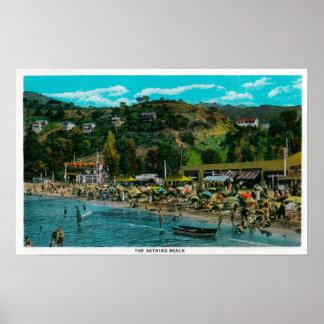 The Bathing Beach at Avalon, Catalina Island Poster