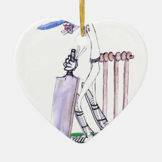 THE BATSMAN cricket, tony fernandes Ceramic Heart Ornament