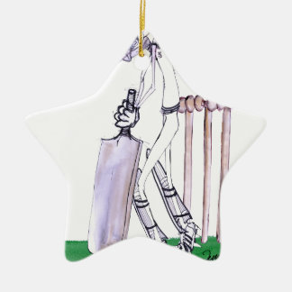 THE BATSMAN cricket, tony fernandes Ceramic Star Ornament