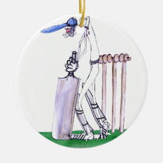THE BATSMAN cricket, tony fernandes Round Ceramic Ornament