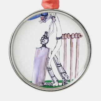 THE BATSMAN cricket, tony fernandes Silver-Colored Round Ornament