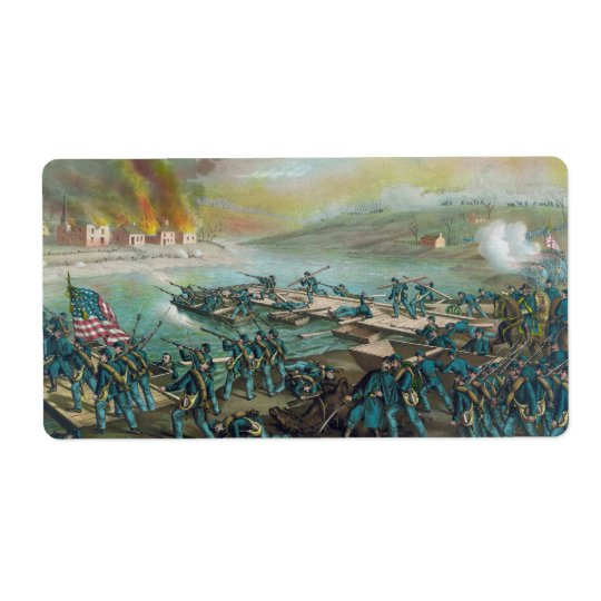 The Battle of Fredericksburg by Kurz and Allison Shipping Label