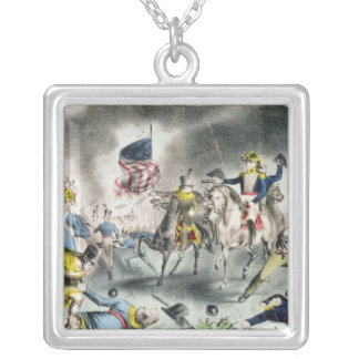 The Battle of New Orleans, pub.Nathaniel Currier Silver Plated Necklace