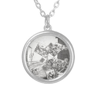 The Battle of the Pictures by William Hogarth Round Pendant Necklace