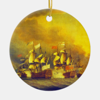 The Battle of the Saintes by Thomas Mitchell 1782 Round Ceramic Ornament