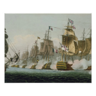 The Battle of Trafalgar, 21st October 1805, engrav Poster