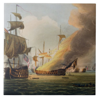 The Battle of Trafalgar, October 21st 1805, engrav Tile