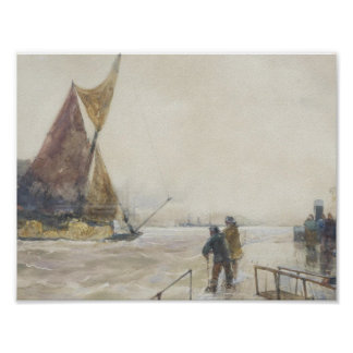 The Beach at Berck by Edouard Manet Poster