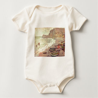 The Beach at Etretat - Claude Monet Baby Bodysuit