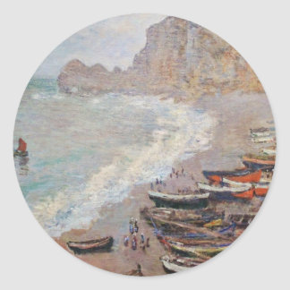 The Beach at Etretat - Claude Monet Classic Round Sticker