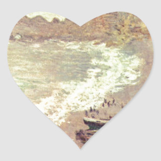 The Beach at Etretat - Claude Monet Heart Sticker
