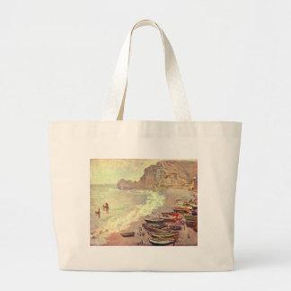 The Beach at Etretat - Claude Monet Large Tote Bag