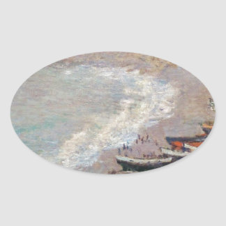 The Beach at Etretat - Claude Monet Oval Sticker