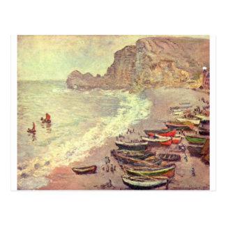 The Beach at Etretat - Claude Monet Postcard