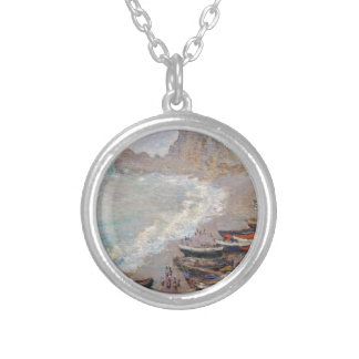 The Beach at Etretat - Claude Monet Silver Plated Necklace