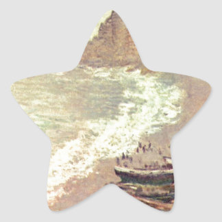 The Beach at Etretat - Claude Monet Star Sticker