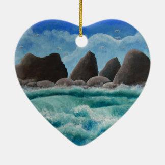 The Beach at Oceanside Ceramic Ornament
