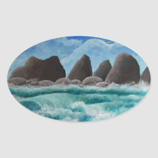 The Beach at Oceanside Oval Sticker