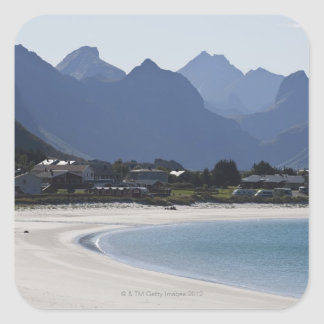 The beach at Ramberg is famous for its white 2 Square Sticker