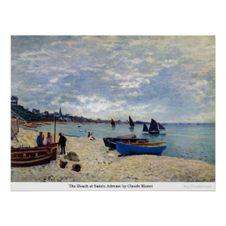 The Beach at Sainte Adresse by Claude Monet Poster