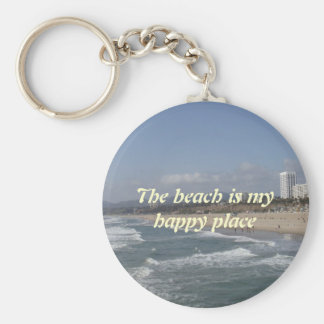 The beach is my happy place basic round button keychain