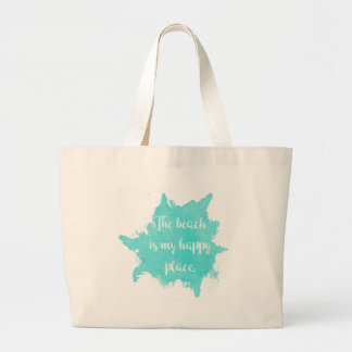 The Beach Is My Happy Place Large Tote Bag