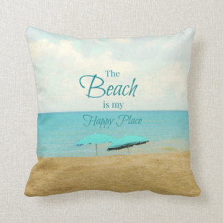 THE BEACH IS MY HAPPY PLACE PHOTO PILLOW