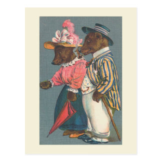 """The Bear Couple"" Vintage Postcard"