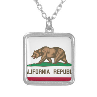 The Bear Flag - Flag of the State of California Silver Plated Necklace