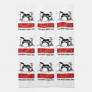 The Beat Goes On - A Drummer's Heart Kitchen Towel