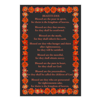 The Beatitudes in a Hedgehog Cactus Frame Poster