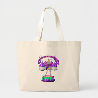 the beautiful bear chested lady large tote bag
