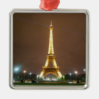 The Beautiful Eiffel Tower Silver-Colored Square Ornament