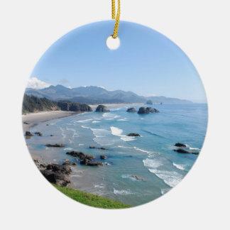 The Beautiful Oregon Coast from Ecola Park Ceramic Ornament