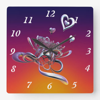 The Beauty of Hearts Square Wall Clock