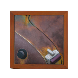 The beauty of texture of an aged vintage car desk organizer