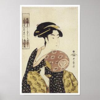 The Beauty Ohisa, Utamaro, 1792-95 Poster