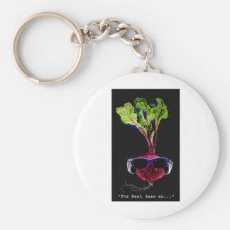 The beet goes on-dark basic round button keychain