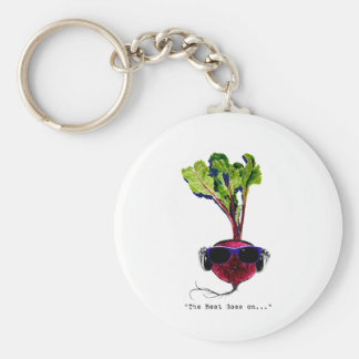 The beet goes on-light basic round button keychain