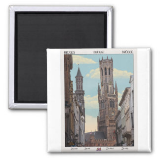 The Belfry in Brugge Square Magnet