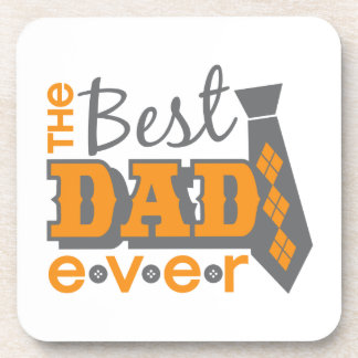The Best Dad Ever with tie and buttons Drink Coaster